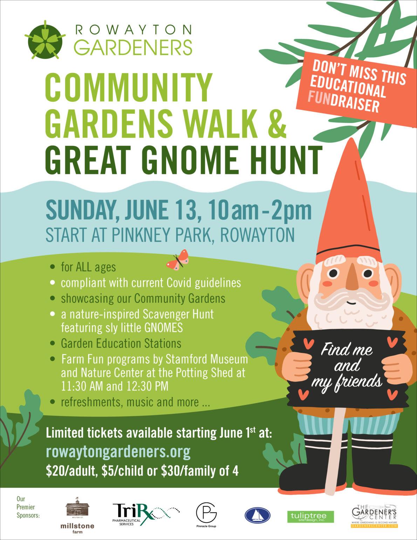 Rowayton Gardeners'  Community Gardens Walk & Great Gnome Hunt