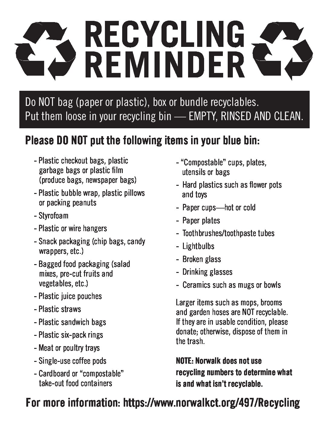 Recycling Reminders from Norwalk